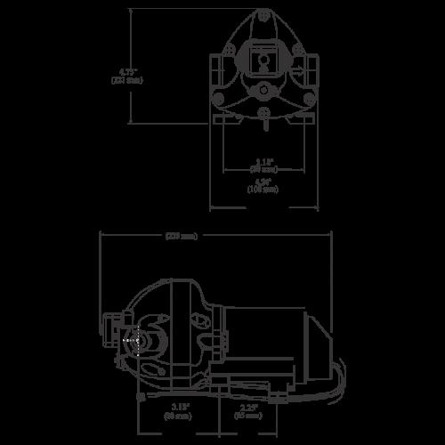 Мембранный насос Flojet Triplex серии R3426-144A 12В размеры