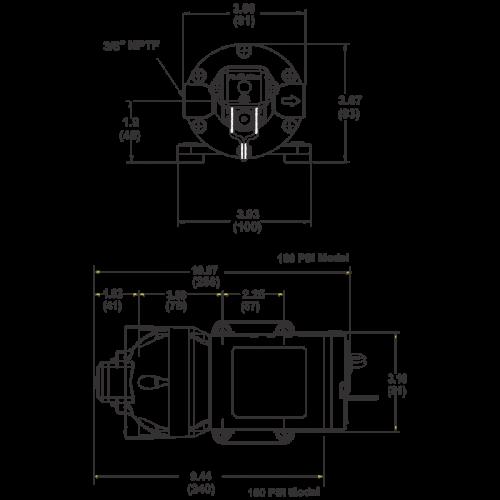 Мембранный насос Flojet Triplex R3811343А 24В размеры