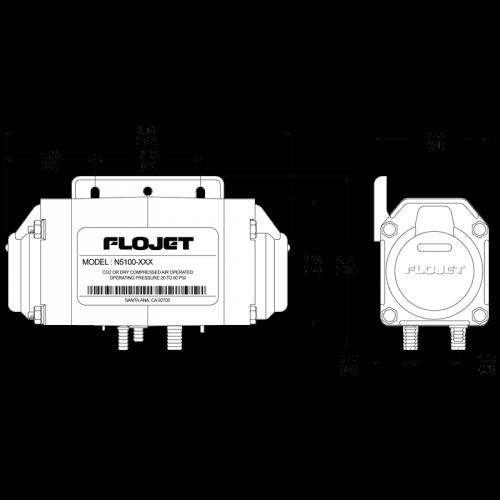 Пневматический мембранный насос Flojet N5100050 размеры