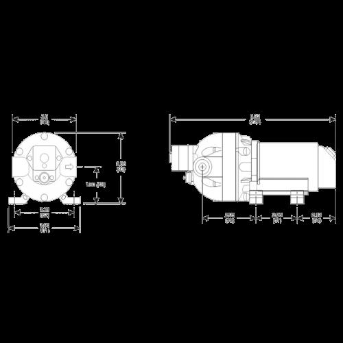 Электрический мембранный насос Flojet Triplex Compact 3501346 размеры