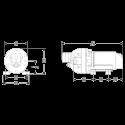 Электрический мембранный насос Flojet Triplex Compact 3501146 12В размеры