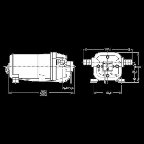 Насос для очистки и мойки палуб яхт Flojet R4325243 230В размеры