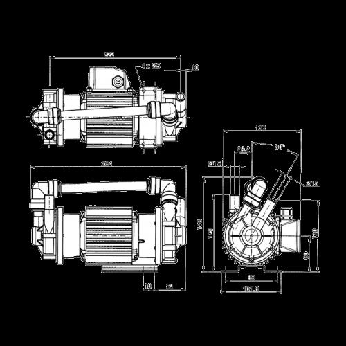 Центробежный насос Flojet GP28/11 с магнитным приводом 230В размеры