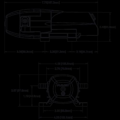 Мембранный насос Flojet - BevJet Compact BIB BLC3011-010A размеры
