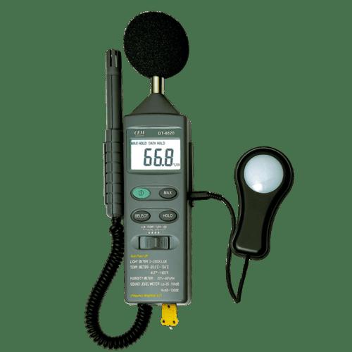 CEM DT-8820 шумомер, люксометр, влагомер, термометр