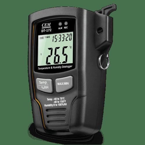 CEM DT-172 регистратор даталоггер температуры и влажности (вид слева)