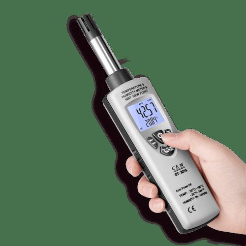 CEM DT-321S цифровой гигро-термометр (вид в руке)