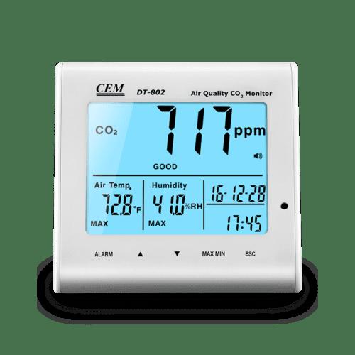 CEM DT-802 анализатор CO2, часы, температура, влажность