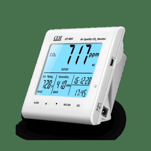CEM DT-802 анализатор CO2, часы, температура, влажность (вид сбоку)