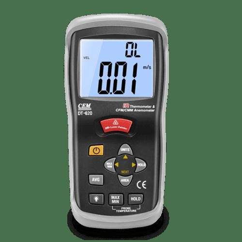 CEM DT-619 измеритель скорости воздуха и температуры (вид спереди)