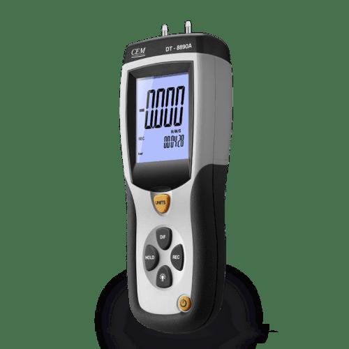CEM DT-8890 дифференциальный цифровой манометр (вид сбоку)