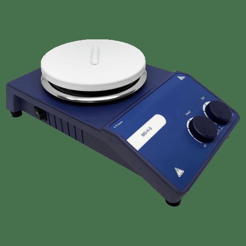 Магнитная мешалка AMTAST BASIC с керамической тарелкой (вид сбоку)