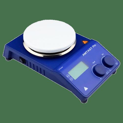 Магнитная мешалка AMTAST PRO с керамической тарелкой (вид сбоку)