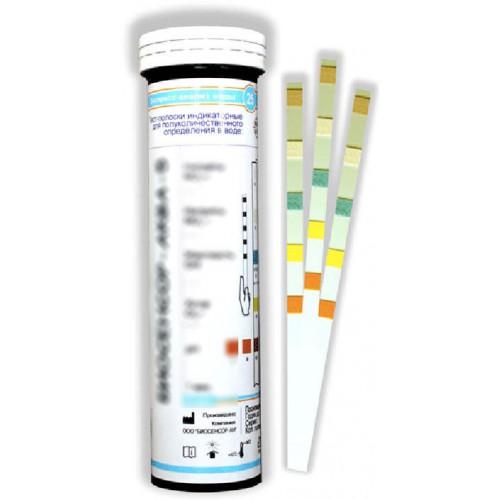 Биосенсор-Аква-6 индикаторная бумага тест полоски 50 штук рН, жесткость, хлор, нитраты, нитриты, общее железо