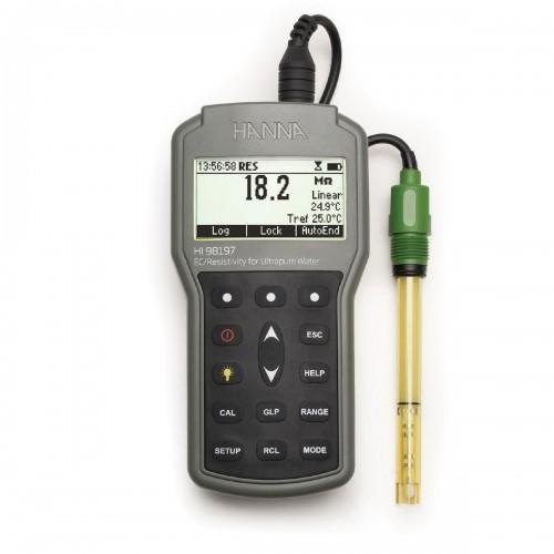 HANNA Instruments HI98197 профессиональный кондуктометр с измерением удельного сопротивления (ГосРеестр)