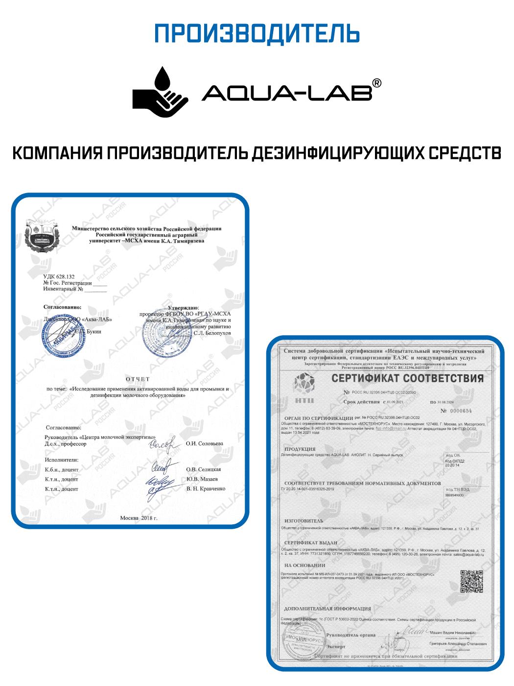 Анолит 5 л сертификаты