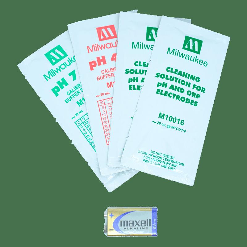 В комплекте 2 раствора для очистки электрода M10016, калибровочные растворы pH 4.01 M10004 и pH 7.01 M10007