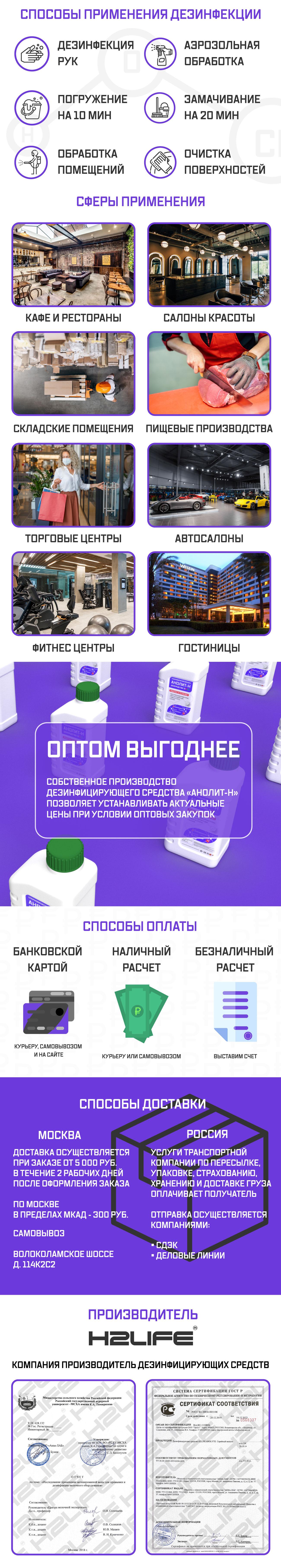 H2LIFE АНОЛИТ-Н 1 л дезинфицирующее средство (часть 2)